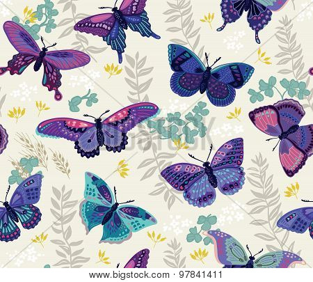 Seamless pattern with butterfly and flowers