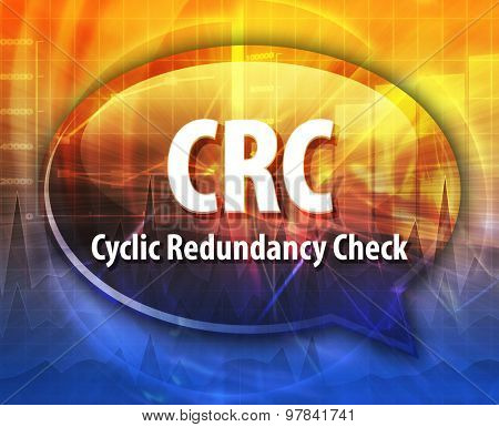 Speech bubble illustration of information technology acronym abbreviation term definition CRC Cyclic Redundancy Check