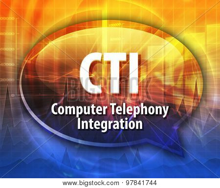 Speech bubble illustration of information technology acronym abbreviation term definition CTI Computer Telephony Integration