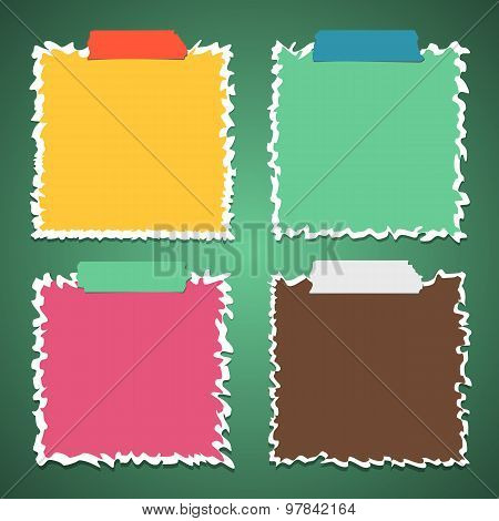 Set of torn crumpled colorful note paper with adhesive, sticky tape on green background