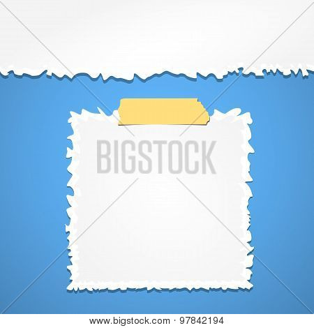 Torn crumpled white paper with adhesive, sticky tape on blue background