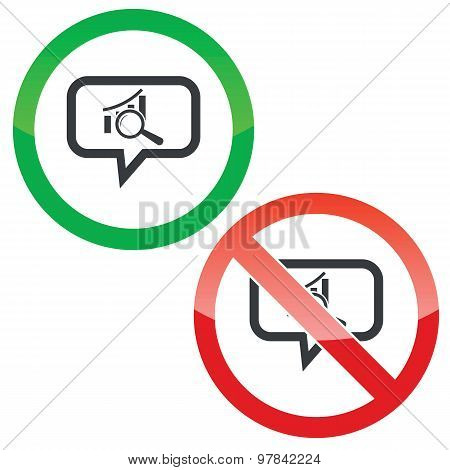 Graphic examination message permission signs