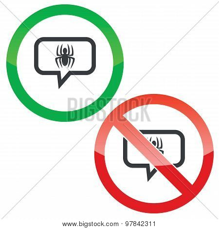 Spider message permission signs