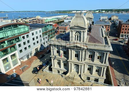 Portland Old Port and Custom House, Maine, USA