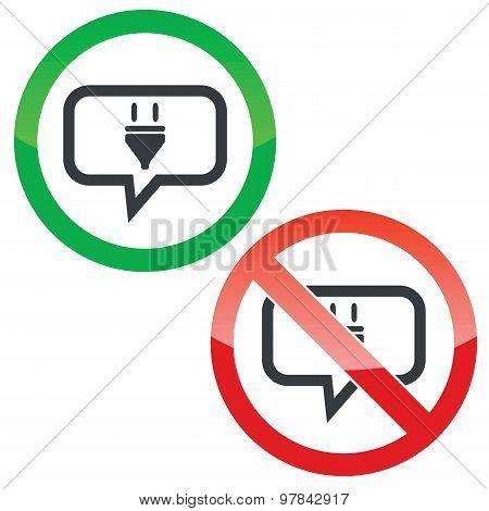 Plug message permission signs
