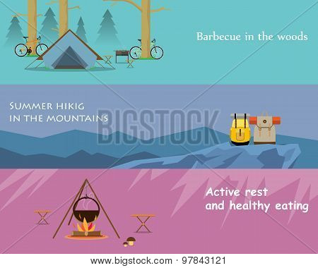 Kinds of active recreation and hiking food. Vector illustration