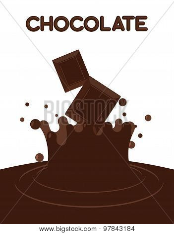 Pieces Of Chocolate Fall Into Liquid Hot Chocolate. Splashes Of Chocolate. Vector Illustration.