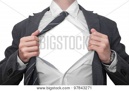 Clerk Tearing His Shirt Off Isolated On White Background
