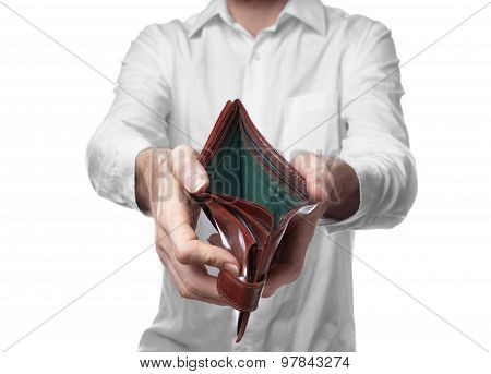 Male Hands Holding Empty Purse On White Background