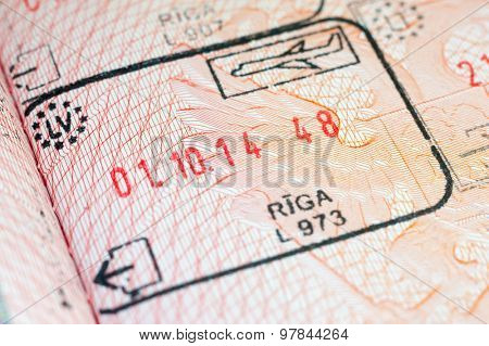Immigration stamp in the passport