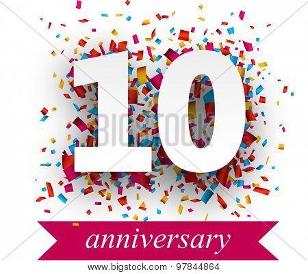 Ten paper sign over confetti. Vector holiday anniversary illustration.