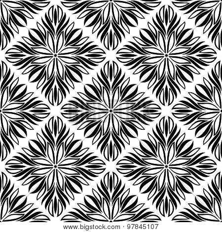 .seamless Pattern With Black Tracery On A White Background