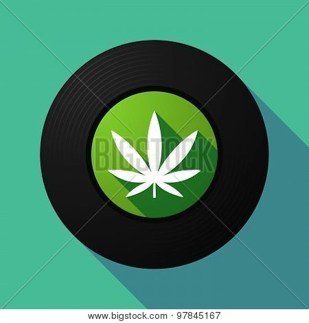 Vinyl Record With A Marijuana Leaf