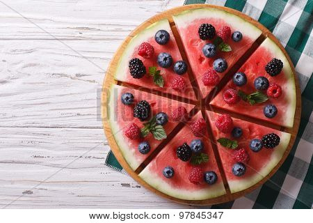 Watermelon Decorated With Berries Horizontal Top View