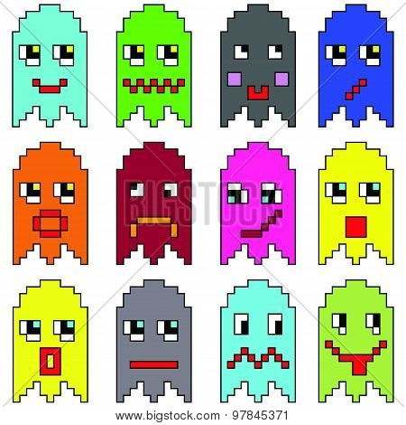 Pixelated  emoticons inspired  by 90's vintage video computer  games showing vary emotions with stro