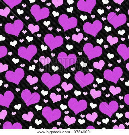 Purple, White And Black Hearts Tile Pattern Repeat Background