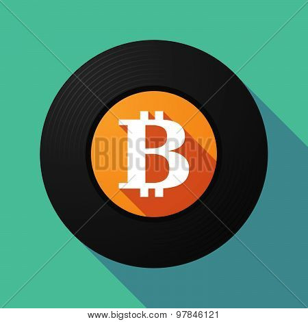 Vinyl Record With A Bit Coin Sign