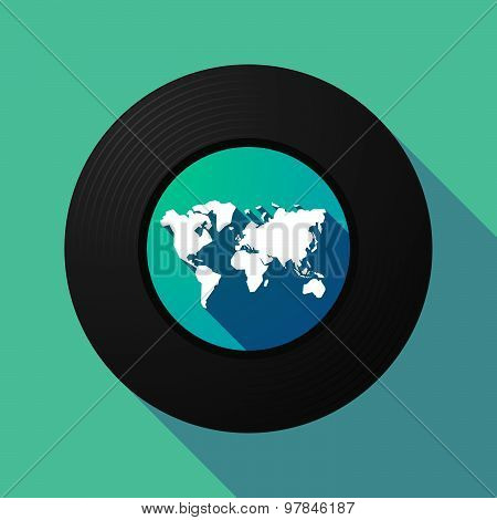 Vinyl Record With A World Map
