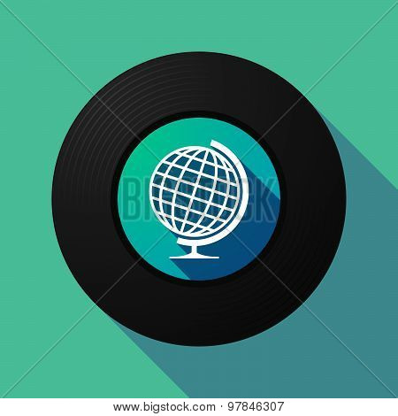 Vinyl Record With A World Globe