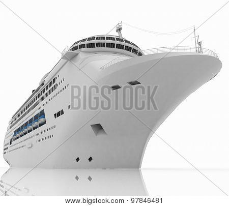 Luxury white cruise ship. 3d render illustration