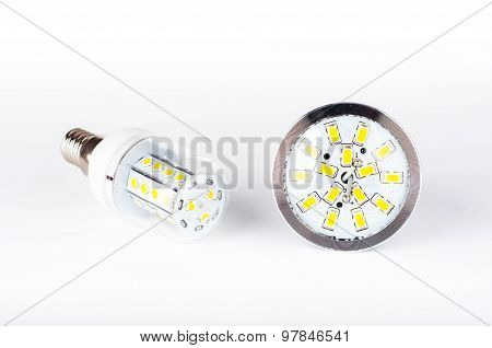 Led Bulbs On White Background
