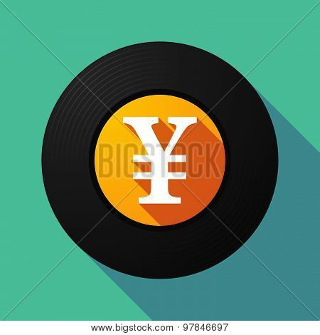 Vinyl Record With A Yen Sign