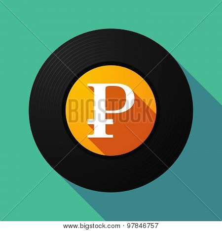 Vinyl Record With A Ruble Sign