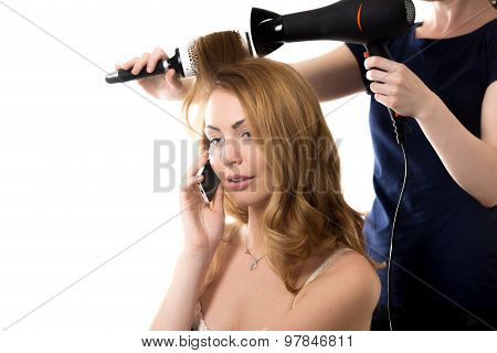 Pretty Lady On Phone In Barber Shop