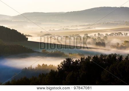 autumnal landscape in fog, Sumava, Czech Republic