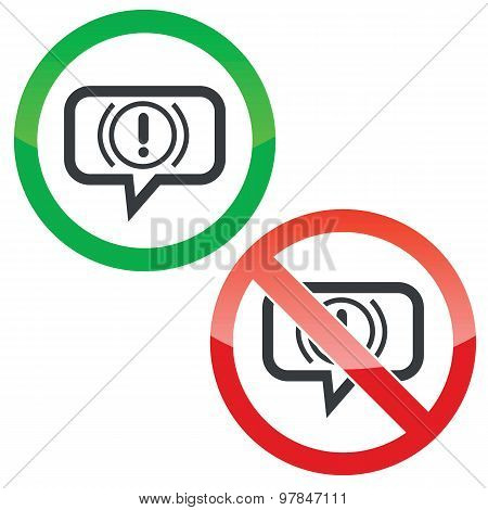 Alert message permission signs