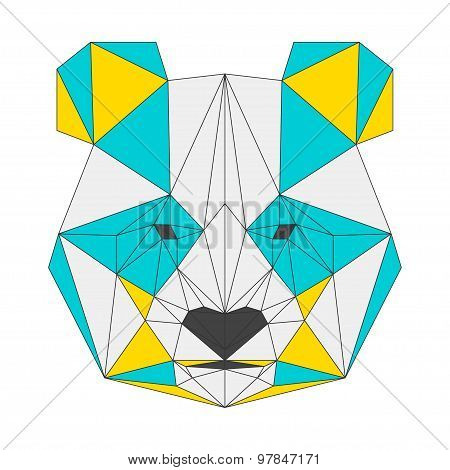 Abstract Panda Isolated On White Background. Polygonal Triangle Geometric Illustration