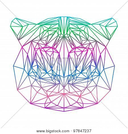 Isolated Polygonal Abstract Tiger Silhouette Drawn In One Continuous Line