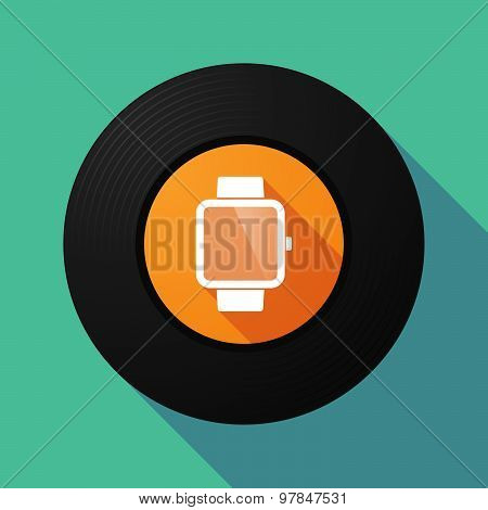Vinyl Record With A Smart Watch