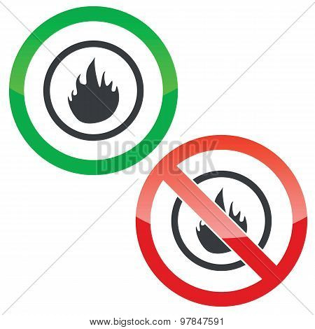 Fire permission signs