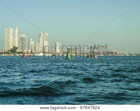 Skyline Of Cartagena From Caribbean Sea