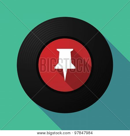Vinyl Record With A Push Pin