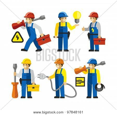 Electricians workers Figures With Tools