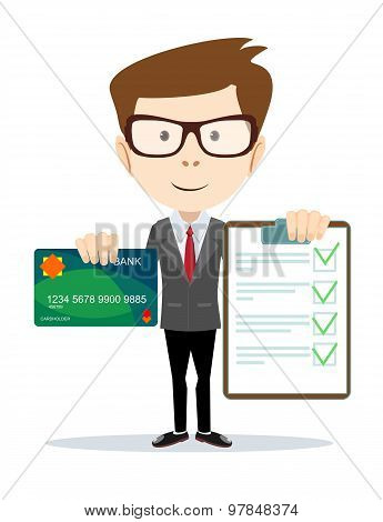 Cheerful man holding credit card and a contract.