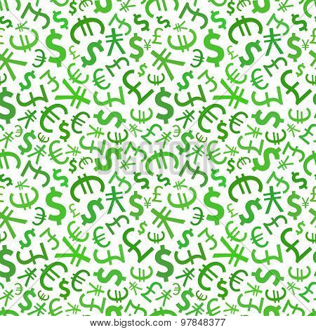 Green signs of world currencies on white, seamless pattern