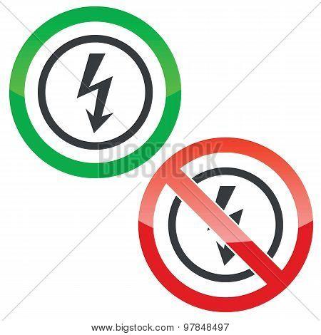 Voltage permission signs