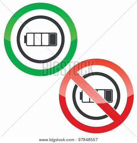 Low battery permission signs