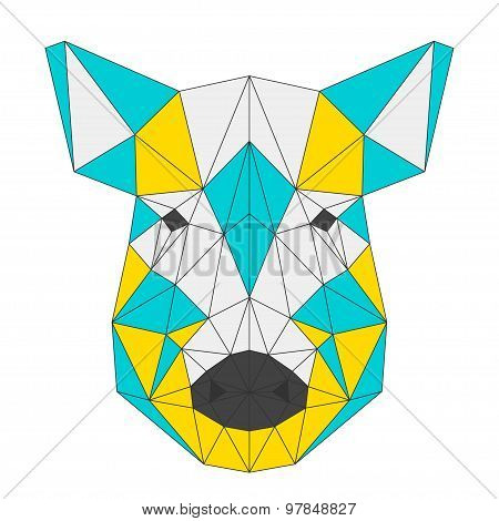Abstract Wild Boar Isolated On White . Polygonal Triangle Geometric Illustration
