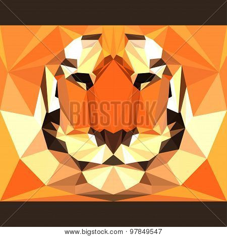 Wild Tiger Stares Forward. Abstract Geometric Polygonal Triangle Illustration For Design