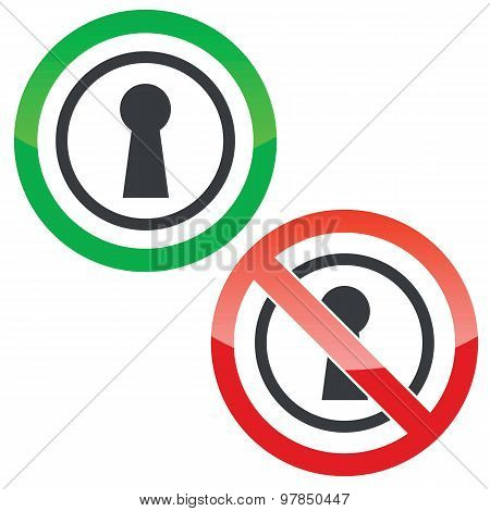 Keyhole permission signs
