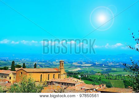 Landscape Of San Gimignano Under A Shining Sun