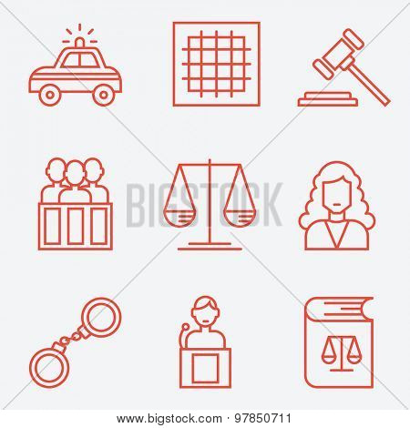 Law icons, thin line style, flat design