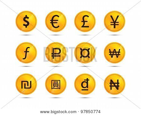 Golden coins with main worlds currency signs, icons on white