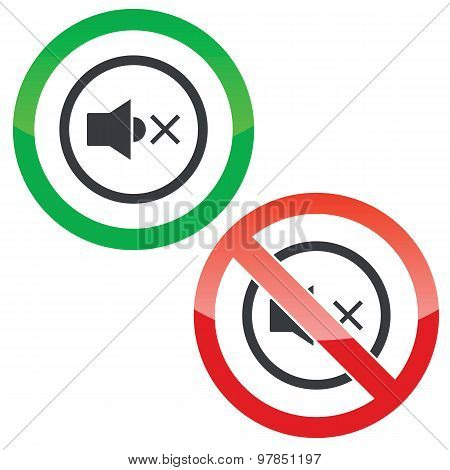 Mute sound permission signs