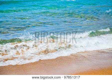 Small Wave By A Golden Foreshore