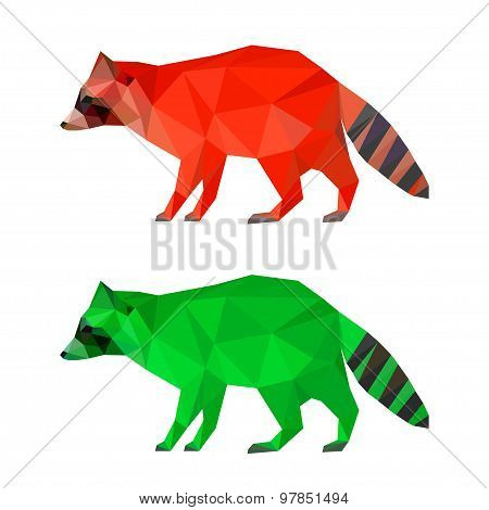 Raccoon Set Isolated On White. Abstract Bright  Polygonal Geometric Triangle Illustration